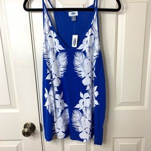 ROYAL BLUE TROPICAL PRINT SPAGHETTI STRAP TANK XL